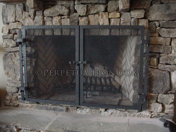 Fireplace Screen 13.1 - Perpetua Iron - Fire Screens, Custom Made To Fit Your Fireplace.