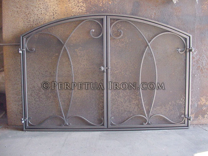Fireplace Screen 2.1 - Perpetua Iron - Fire Screens, Custom Made To Fit Your Fireplace.