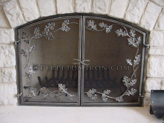 Fireplace Screen 25.1 - Perpetua Iron - Fire Screens, Custom Made To Fit Your Fireplace.
