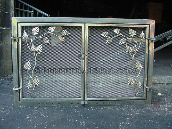 Perpetua iron fire screens custom made to fit your fireplace fireplace screen 271 teraionfo