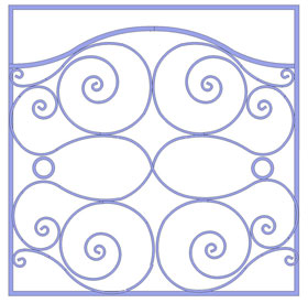 decorative icon, white boackground with purple scrolling lines that indicates a link to a fireplace screen product gallery