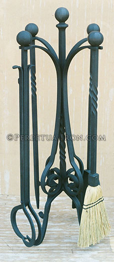 Custom designed heavy duty fire tools to relate to existing andirons.