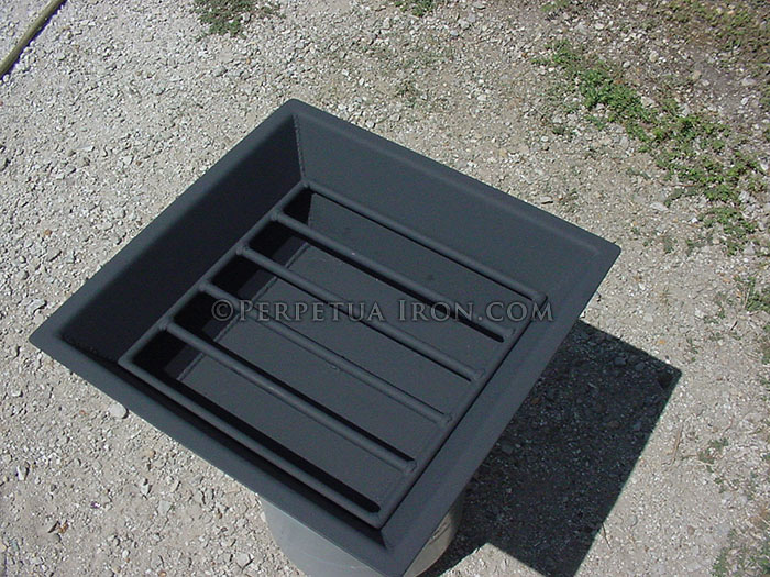 Custom built grate and ash pan for cooking fire pit