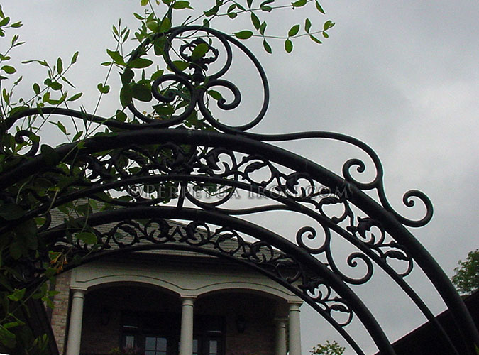 Detail of a decorative iron trellis with plants.