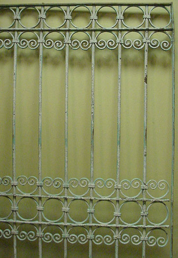 Antique window guard, no welding, collars, C scrolls, and circles.