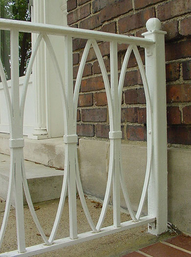 Detail of 6.1 old white porch railing.