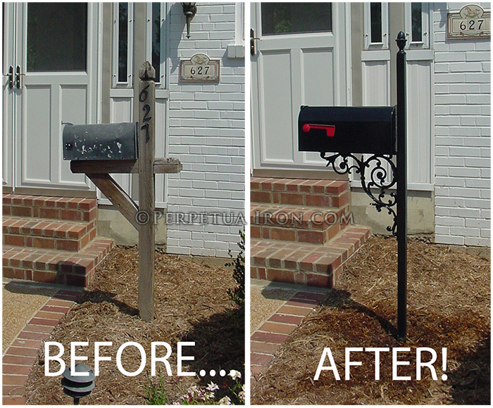Before and after images of mailbox replacment.
