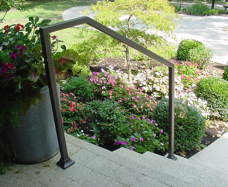 "Exterior wrought iron handrail, modern design, 1.5"" tubing, bronze color."