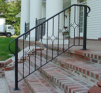 Exterior Hand Rail, Wrought Iron, Hand Formed Alternating Diamonds. Railing  27.2