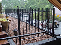 exterior  wrought iron  railing, 2 channel design with ball cap finials