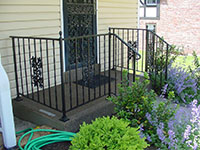 wrought iron porch rail with cast iron oak design, satin black