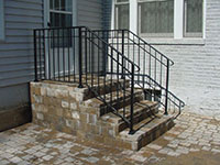 wrought iron railing for steps, 3 channel design