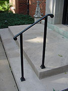 simple, elegant wrought iron railing, no pickets, cast iron scroll ends