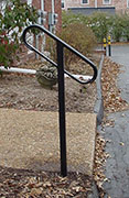 single post wrought iron rail with continuous channel and cap rail