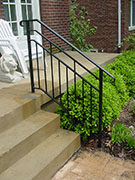 custom fabricated modern design for rail on front steps