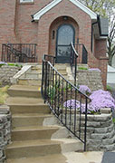 traditional design, new wrought iron rail incorporating old railing