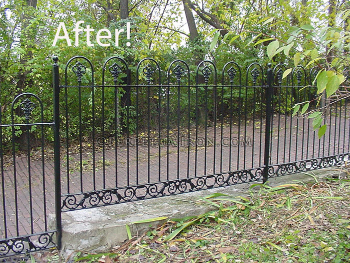single ornamental iron gate for a courtyard, spear point finials